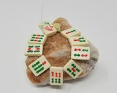 Vintage Bone Beads Mahjong tiles Circle Design or Bamboo Design 2 Hole