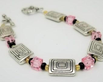 Handmade Modern Bracelet Swarovski Light Rose Crystals