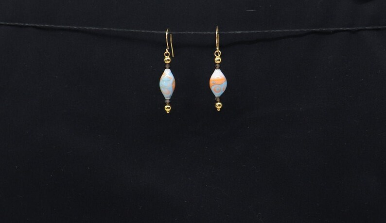 Coral and Blue Glass Drop Earrings