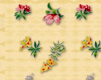 5 Designs Vintage Kitchen Yellow Flower Print Instant Download Digital For Artwork, Collage, Journals, Scrapbooking, Paper Crafting