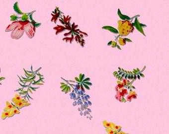 5 Designs Vintage Kitchen Flower Pinks Print Instant Download Digital Sheet For Artwork, Collage, Journals, Scrapbooking, Paper Crafting