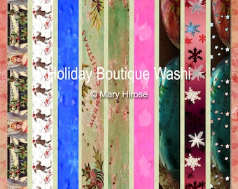18 Patterns Holiday Boutique Washi Instant Download Digital For Artwork, Collage, Journals, Scrapbooking, Party Favors, Paper Crafting