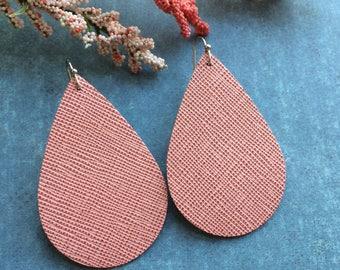 Teardrop leather earrings, pink embossed leather teardrop earrings, pale pink embossed leather earrings