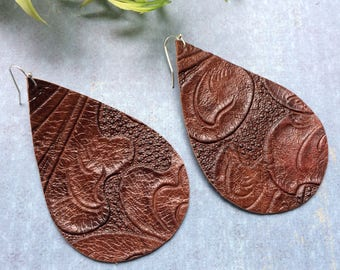 XLarge Teardrop leather earrings, brown embossed leather teardrop earrings, brown embossed leather earrings