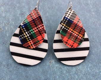 Teardrop leather earrings, plaid and striped black leather teardrop earrings, plaid, black and white layered leather earrings
