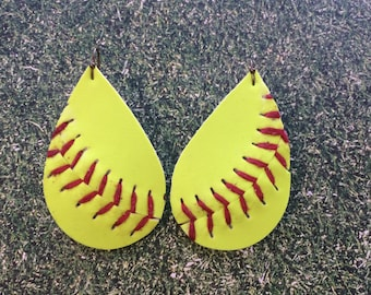 Softball earrings, softball teardrop earrings