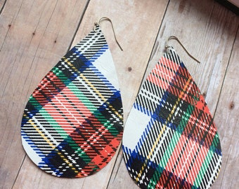 XLarge Teardrop leather earrings, plaid print leather teardrop earrings, plaid leather earrings