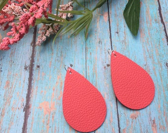 Teardrop leather earrings, coral leather teardrop earrings, coral leather earrings