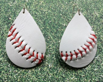 Baseball earrings, baseball teardrop earrings