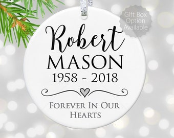 christmas memorial ornament loss of loved ones gift because someone we love is in heaven sign child loss of father bereavement gifts