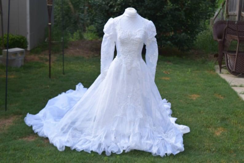 fd252ec8130c Enchanted White Ruffle Wedding Dress Organza With a Long Train | Etsy
