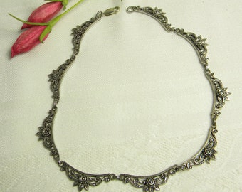 """Marcasite Sterling Silver Bib Necklace choker style Signed """" M """""""