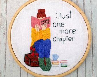 Bookworm for her Gift for book lover gift for friend picture Embroidery hoop art Personalized gift Women embroidery design girl room decor