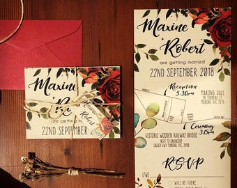 Trifold Wedding Invitation with perforated detachable postcard RSVP and tag & twine. Red floral, native greenery and navy berries
