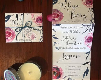 Trifold Wedding Invitation with perforated detachable postcard RSVP and tag & twine. Stunning Navy and pink rose design