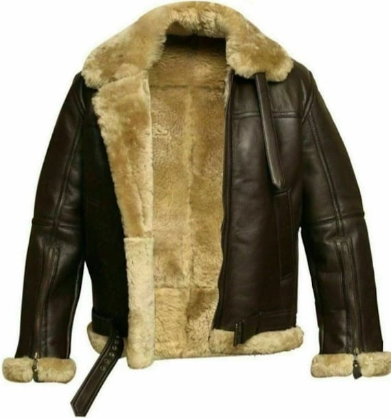 Men Bomber Aviator Raf B 3 Winter Shearling Fur Genuine Leather Jacket by Etsy