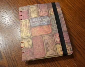 Small Handmade Journal, Lay flat Coptic stitch, Elastic Band Book Closure, Vintage Ticket Paper