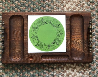 Vintage CHEESE TRAY  Hand Carved Hardwood Charcuterie Board  Cutting Board with Avocado Green Insert  Very Good Condition 60s