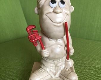 Vintage 1970 W R Berries Worlds Greatest Husband Big Eye Figurine