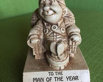 Vintage 70s Wood Paula Figurine To The Man of the Year for the Next 100 Years 1972