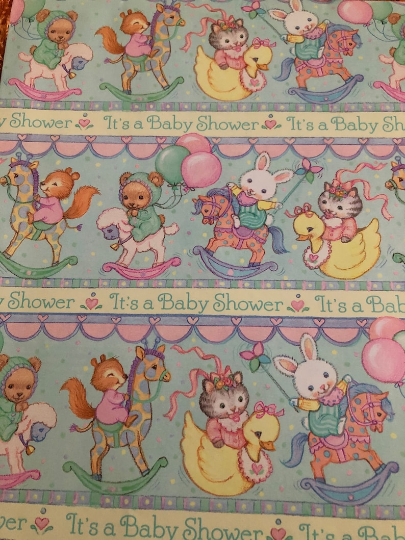 Vintage 90s Ambassador Hallmark Baby Shower Gift Wrap Wrapping Paper 1 Full Sheet New Unused