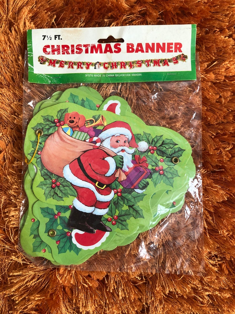Vintage 7 12ft Christmas Banner Santa Claus Carrying Gifts Hollies New in Unopened Package