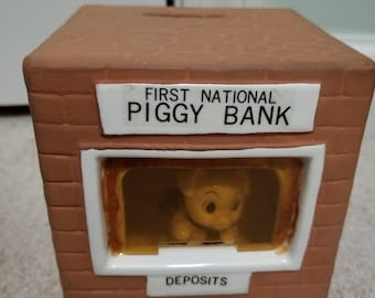 Vintage Ceramic First National Piggy Bank Banker Pig Building Coin Still Bank