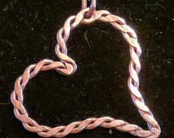 Twisted Heart Pendant in Hammered Copper