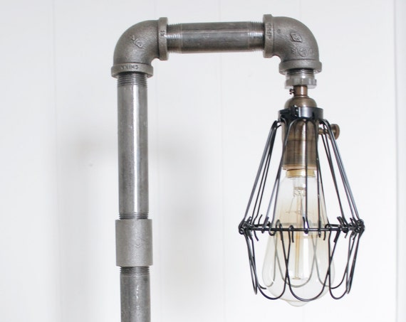Iron Pipe Wooden Base Lamp