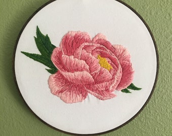 "Peony Needlepainted 8"" Embroidery Hoop Art"