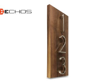Modern Wood House Number