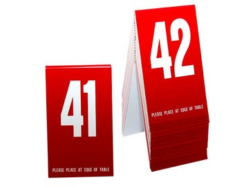 Plastic Table Numbers 1-20 Red w//white number Tent Style Free shipping