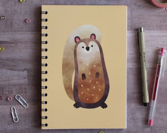 NOTEBOOK. A5 Cute Squirrel Spiral Notebook. Soft 300 gsm Card Cover. 120 lined pages. Matte lamination pleasant to the touch.