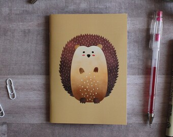 NOTEPAD. A6 Cute Hedgehog Notepad. Soft 300 gsm Card Cover. 40 blank pages. Matte lamination pleasant to the touch.