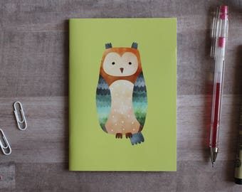 NOTEPAD. A6 Cute Owl Notepad. Soft 300 gsm Card Cover. 40 blank pages. Matte lamination pleasant to the touch.
