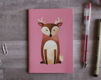 NOTEPAD. A6 Cute Deer Notepad. Soft 300 gsm Card Cover. 40 blank pages. Matte lamination pleasant to the touch.