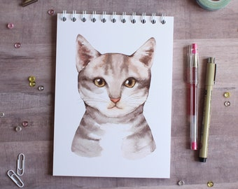 NOTEBOOK. A5 Aquarelle Cat Spiral Notebook. Soft 300 gsm Card Cover. 100 lined pages. Matte lamination pleasant to the touch.