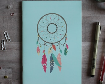 NOTEBOOK. A5 Cute Blue Dreamcatcher Notebook. Soft 300 gsm Card Cover. 40 lined pages. Matte lamination pleasant to the touch.