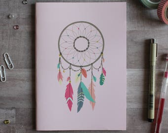 NOTEBOOK. A5 Cute Pink Dreamcatcher Notebook. Soft 300 gsm Card Cover. 40 lined pages. Matte lamination pleasant to the touch.