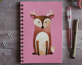 NOTEBOOK. A5 Cute Deer Spiral Notebook. Soft 300 gsm Card Cover. 120 lined pages. Matte lamination pleasant to the touch.