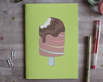 NOTEBOOK. A5 Cute Ice Cream Notebook. Soft 300 gsm Card Cover. 40 lined pages. Matte lamination pleasant to the touch.