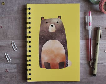 NOTEBOOK. A5 Cute Bear Spiral Notebook. Soft 300 gsm Card Cover. 120 lined pages. Matte lamination pleasant to the touch.