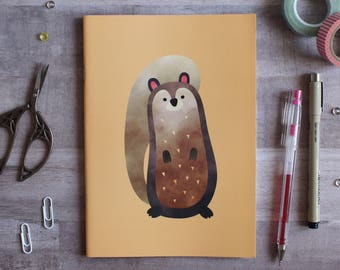 NOTEBOOK. A5 Cute Squirrel Notebook. Soft 300 gsm Card Cover. 40 lined pages. Matte lamination pleasant to the touch.