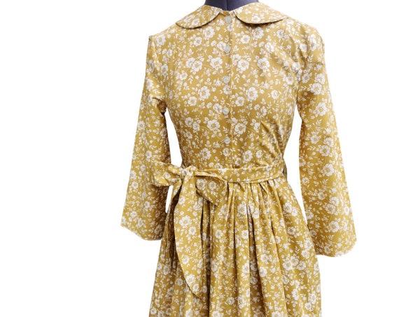 Gold Floral Smock  Dress with Peter Pan Collar