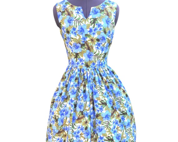 "Floral Dress | Midi Dress | Vintage Dress | Dresses| Lounge Wear | Blue Dress | ""Blue Hibiscus Flowers"""