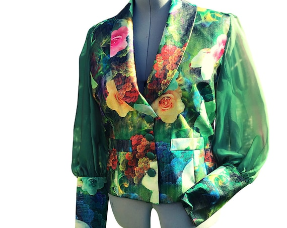 Tailored Jacket in Green Brocade