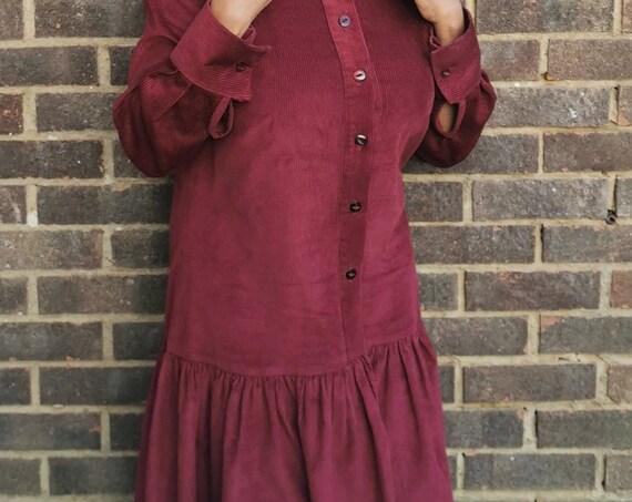 Wine Corduroy Shirt dress