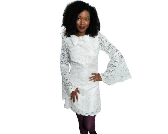 Lace dress | Vintage Dress | Ivory Lace Dress|  1970s Dress | Bridesmaids Dress | Cocktail Dress | Custom made Dress