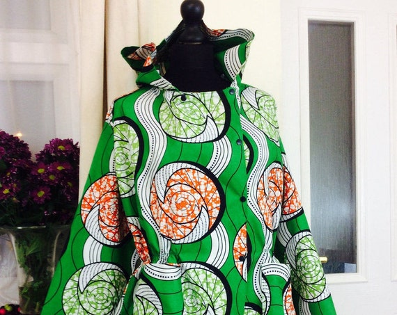 Ankara Jacket/ Ladies Jacket/An African Spin on the Iconic Parka/Hooded Jacket/Ankara Jacket