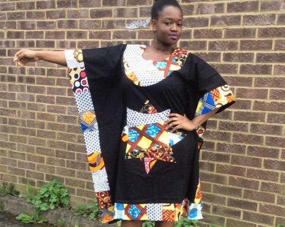 African Patchwork, African Print Boubou Style,Ankara Dress Ladies Patchwork Dashiki/Danshiki